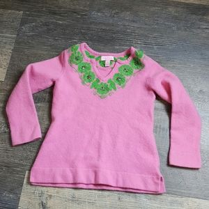 Lily Pulitzer sweater pink embroider girl size S